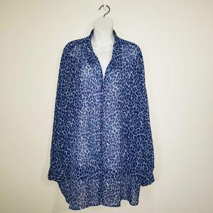Venezia Jeans Blue Leopard Print Sheer Blouse